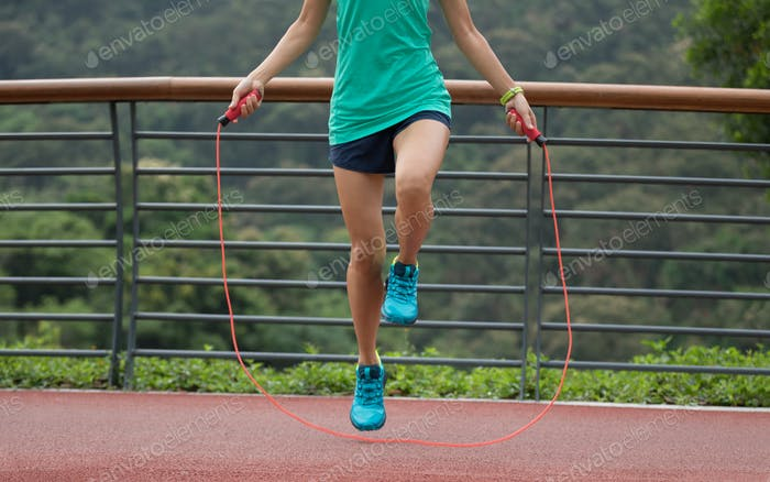 Jumping rope in the morning