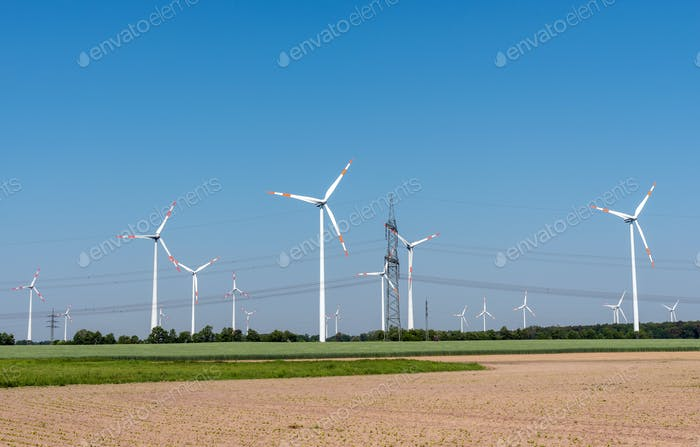Overhead power lines and modern wind turbines