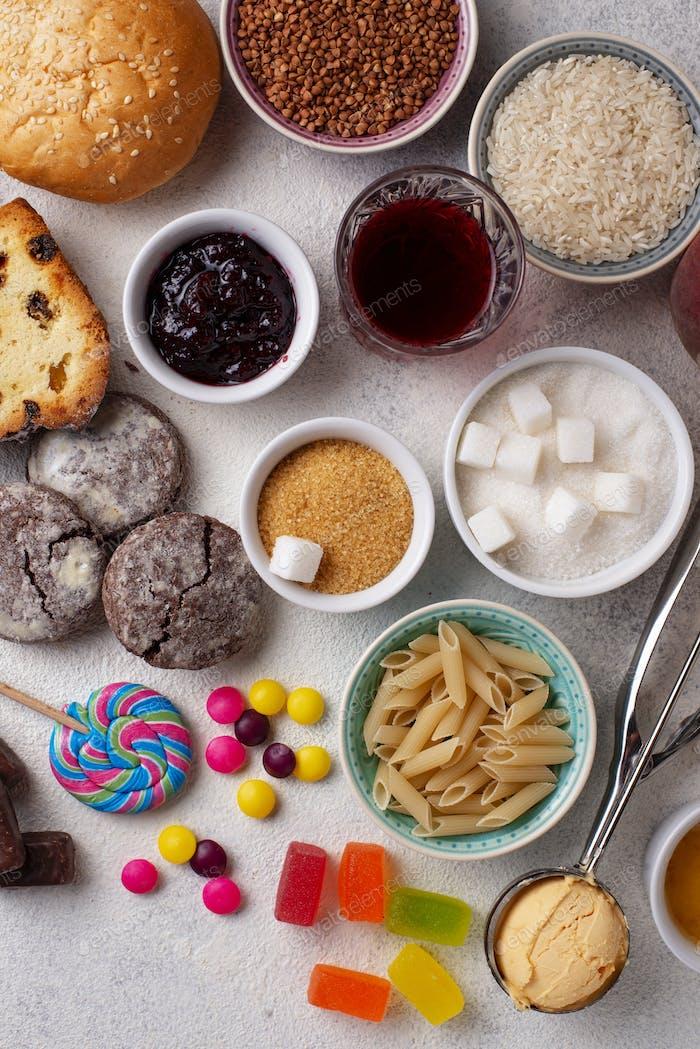 Sortiment von einfachen Kohlenhydraten Lebensmittel