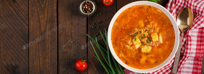 Traditional Russian soup with cabbage - sauerkraut soup - shchi.