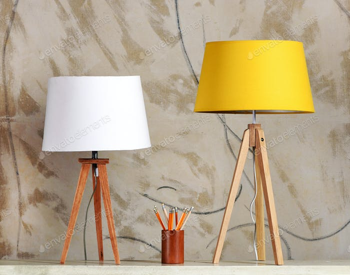 Two Retro Table Lamps with Cup of Pencils on Table