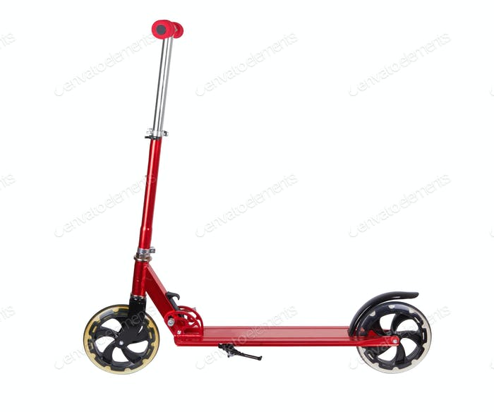 Red metal scooter