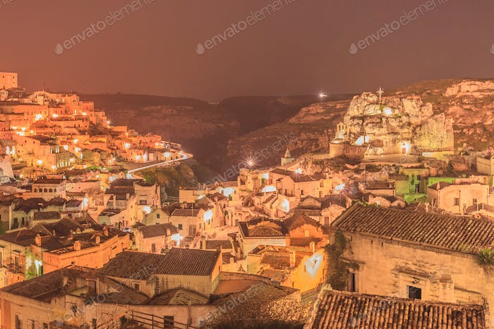 Sassi di Matera at night. Italy