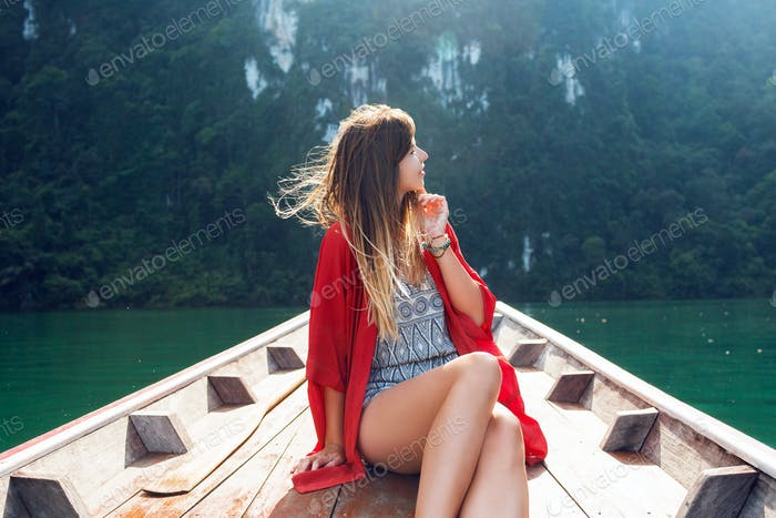Wonder traveler woman enjoying wild nature