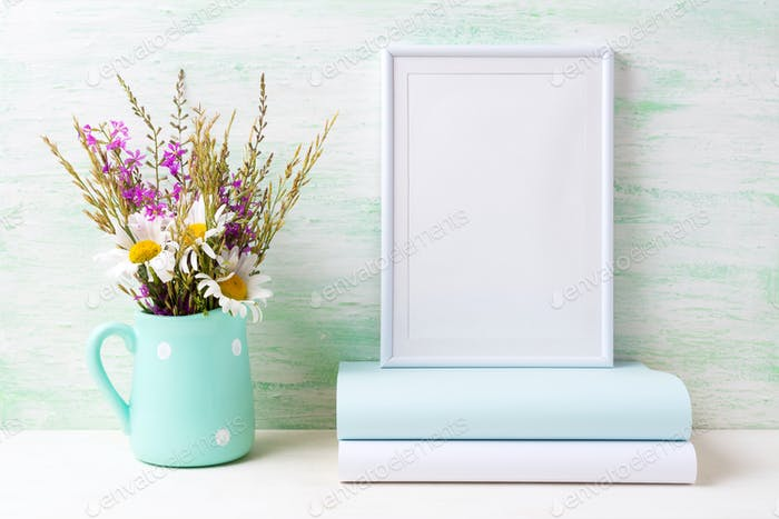Thumbnail for White frame mockup with chamomile and purple flowers in mint gre