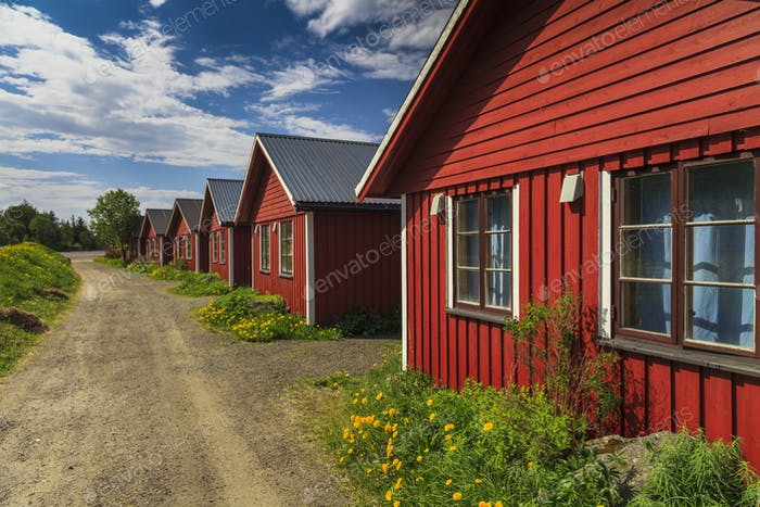 Beautiful red cottage houses. Norway