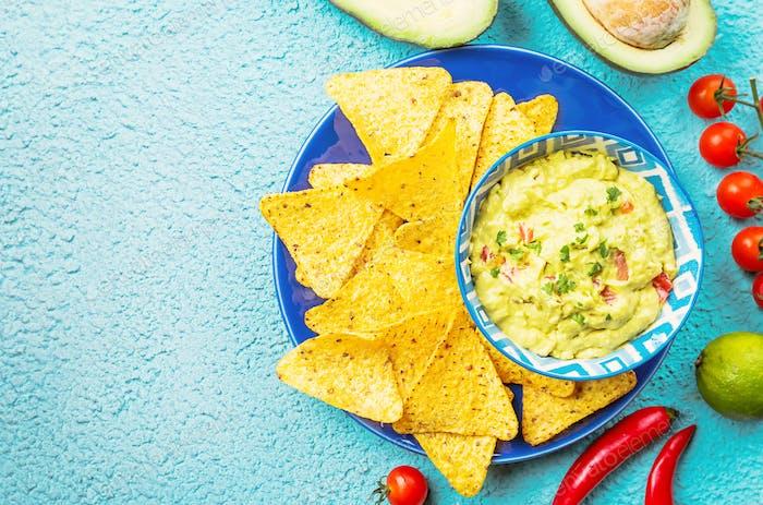 Mexican nachos with guacamole