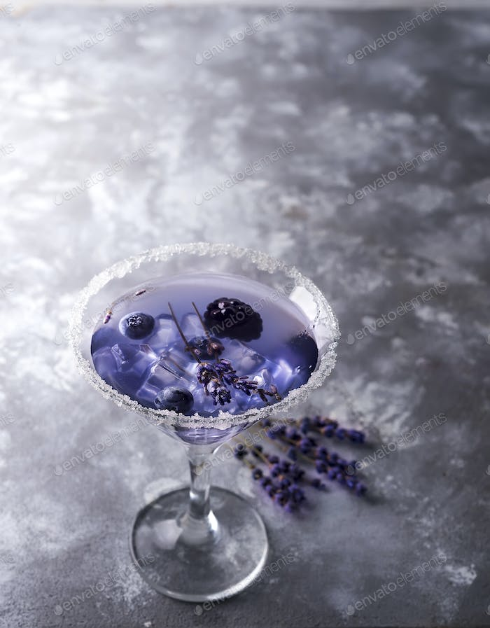 Lavender cocktail with berries