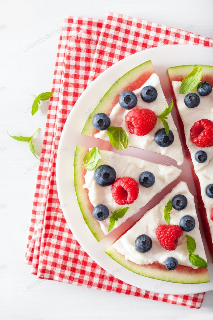 watermelon pizza slices with yogurt and berries, summer dessert