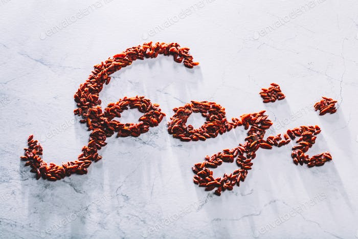 """Goji"" word composed of little red goji berries."