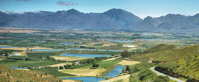 Landscape of lagoons and vineyards from Gydo Pass,