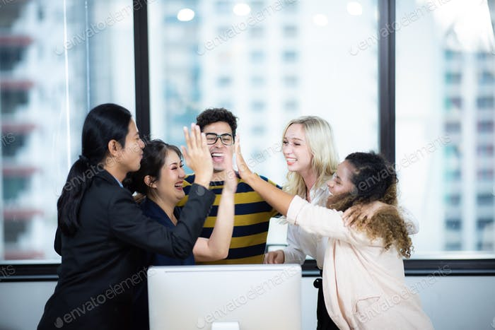 business team working with computer  online business success concept