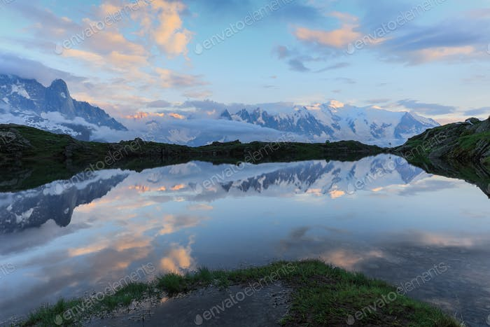 Mont Blanc reflected in Cheserys Lake, Mont Blanc, France