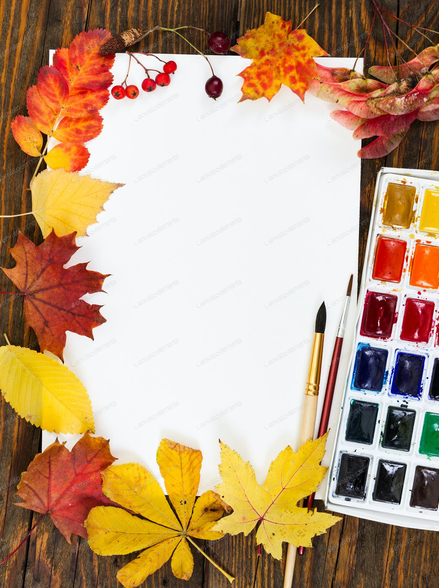 Workplace Of Artist Sheet Paper Paints Brushes And Autumn Photo By Nataliia Pyzhova On Envato Elements