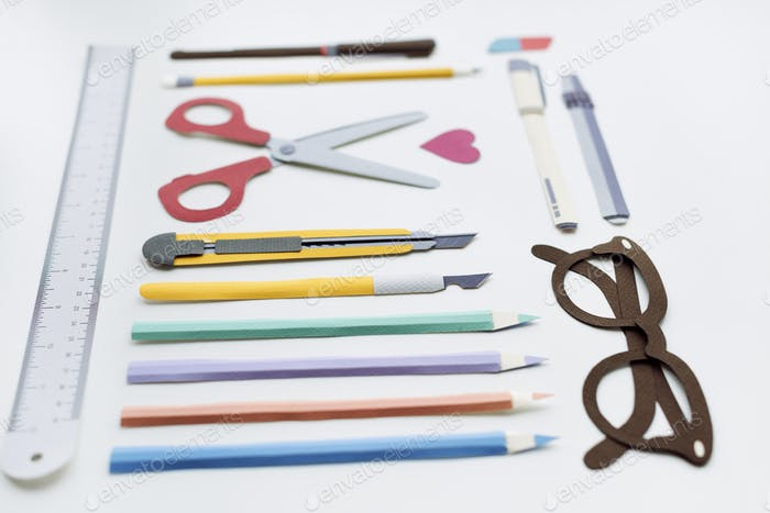 Pen Color Pencil Scissor Eraser Ruler Eyeglasses Concept