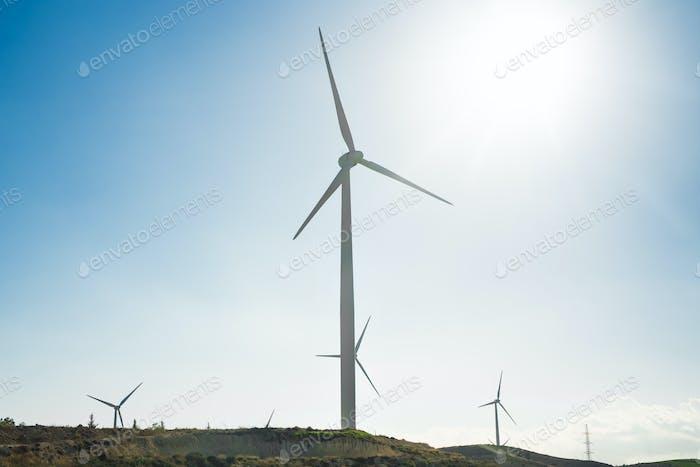 Wind Turbine for alternative energy . Eco power concept