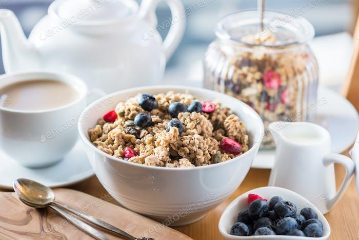 Granola made from Oat Porridge, Nuts, Seeds, Berries