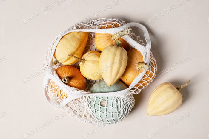 Various pumpkins in the white mesh bag
