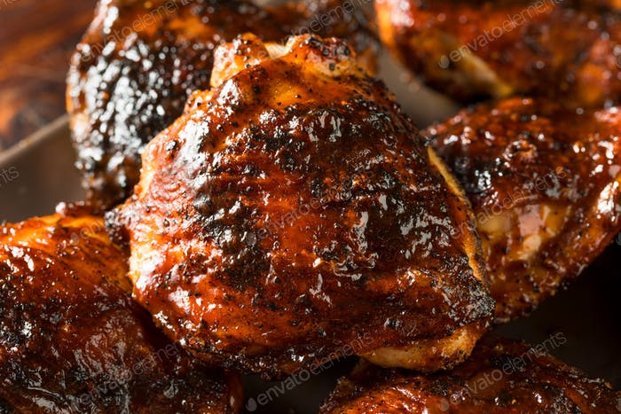 Homemade Grilled Barbecue Chicken Thighs
