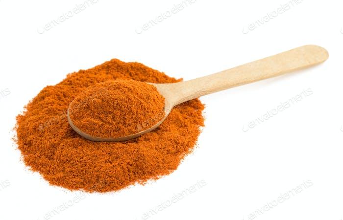paprika powder and spoon on white