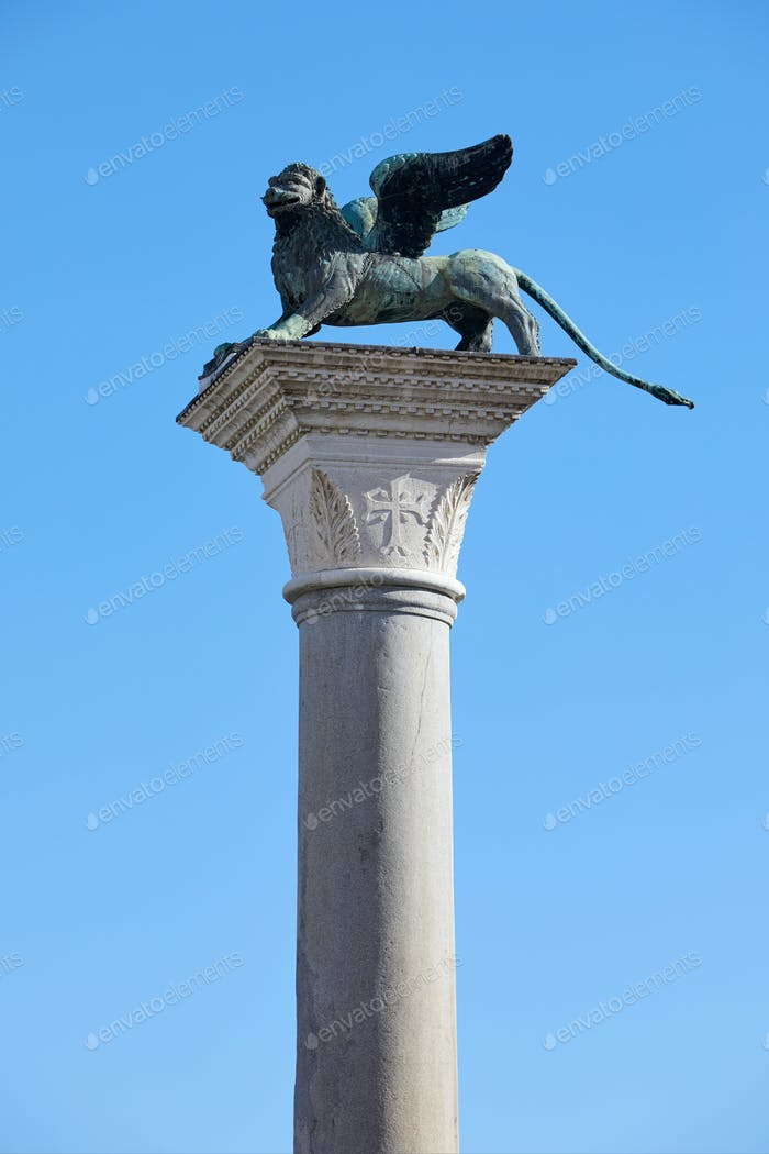 San Marco winged Lion statue on column, symbol of Venice