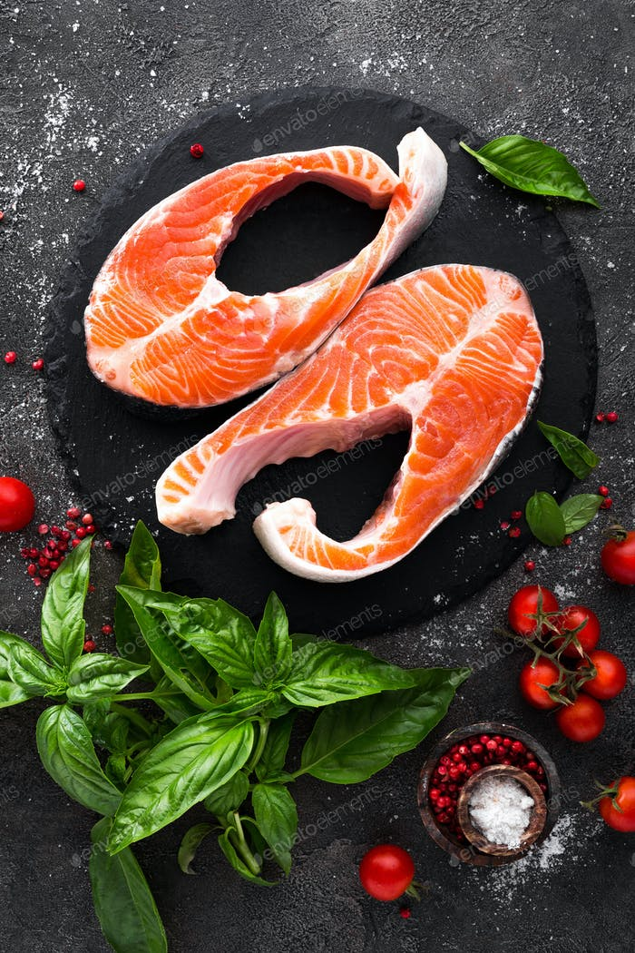 Raw salmon fish. Salmon steaks