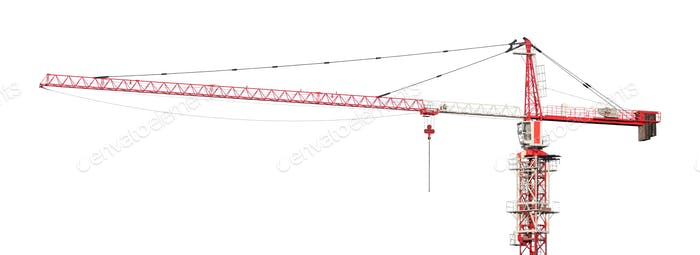 Red and white building tower crane isolated on white background