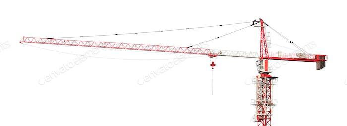 Rot-weiß Bauturmkran isoliert auf weißem Hintergrund