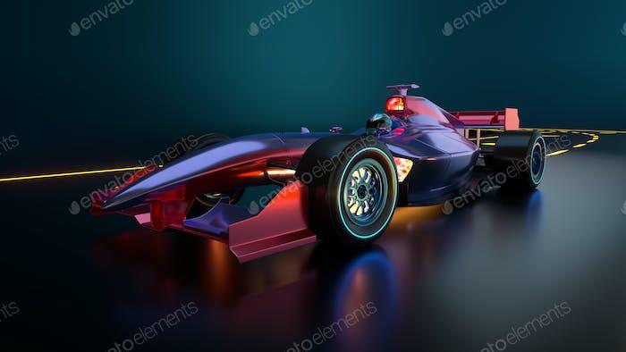 Race Car speeding along highway