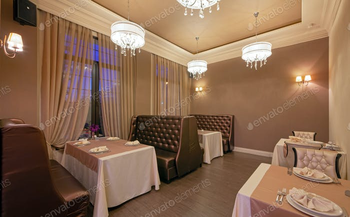 The interior of the restaurant in a classic style