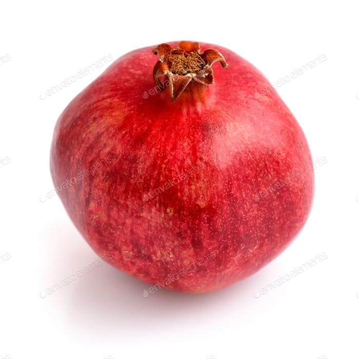 Single ripe pomegranate fruit isolated on white background