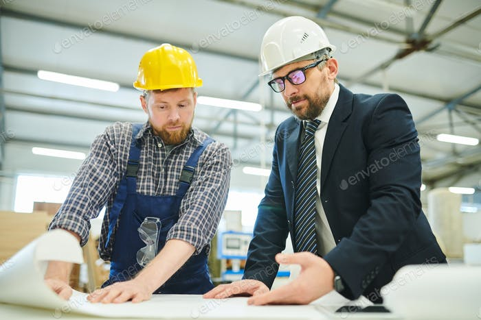 Businessman examining sketch with engineer