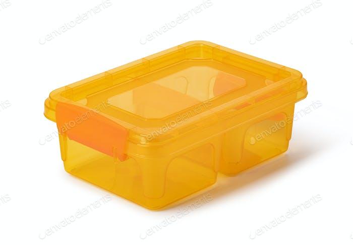 Plastic food box on white background