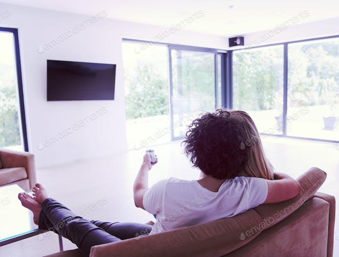 Rückansicht des Paares Fernsehen