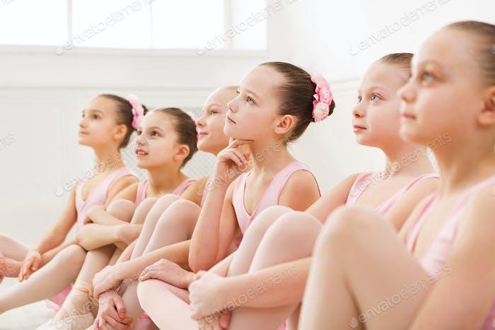 Little ballerinas in ballet studio