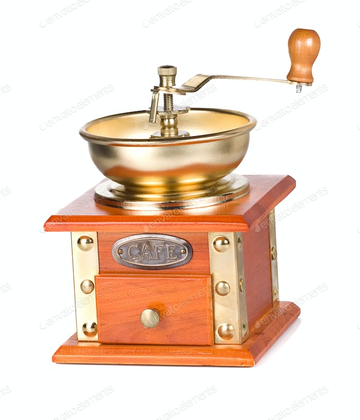 isolated coffee shining gold grinder on white