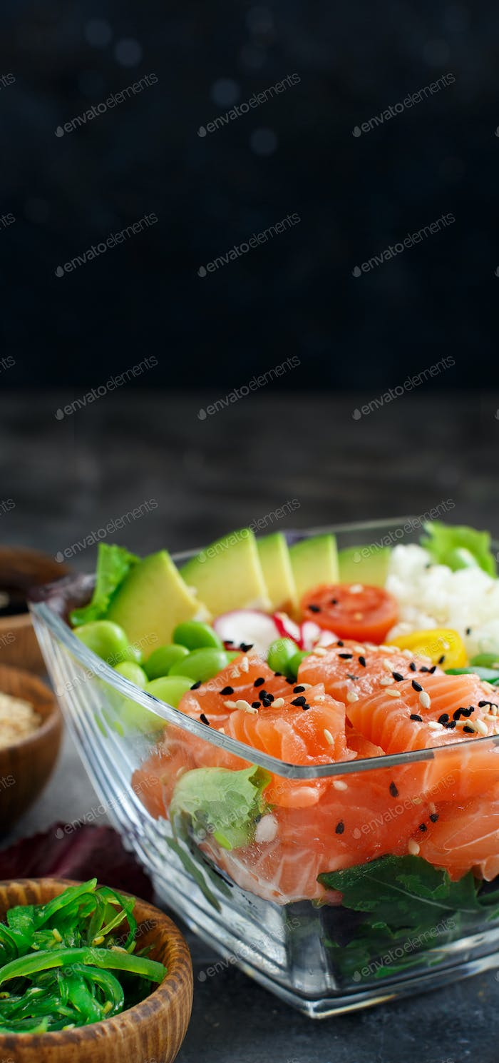 Hawaiian salmon poke bowl