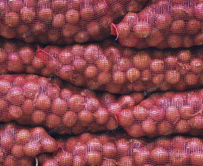 Bags of red onions