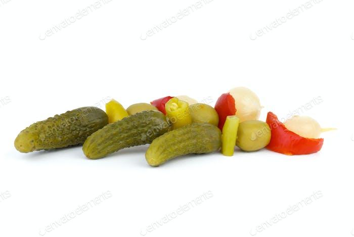 Three skewers with vegetable
