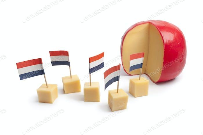 Dutch Edam cheese blocks with the Dutch flag
