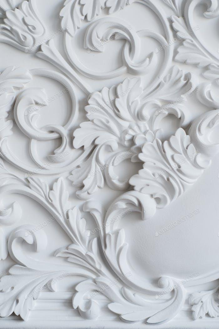 Luxus weiße Wandgestaltung Flachrelief mit Stuckleisten Roccoco-Element