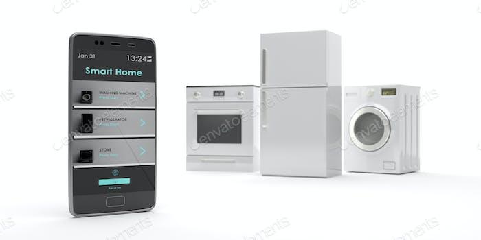 Haushaltsgeräte und Smartphone auf weißem Hintergrund. 3D Illustration