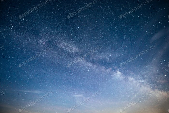 Vibrant night sky with stars and nebula and galaxy. Deep sky astrophoto