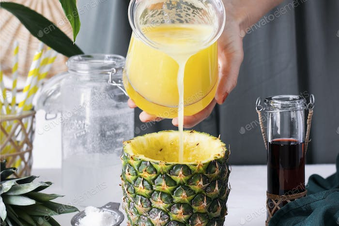 Pineapple drink with coconut cranberry syrup step by step