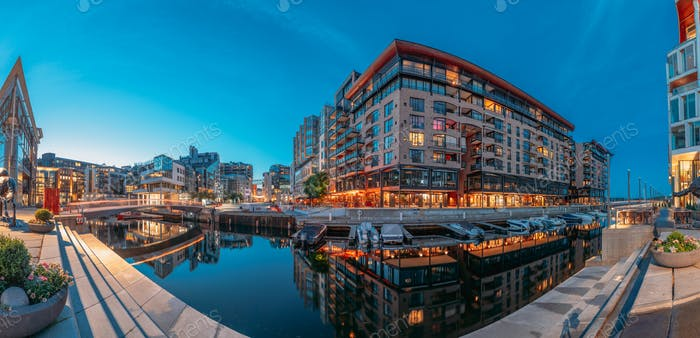 Oslo, Norway. Night Embankment And Residential Multi-storey Hous