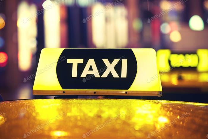 Taxi car at night