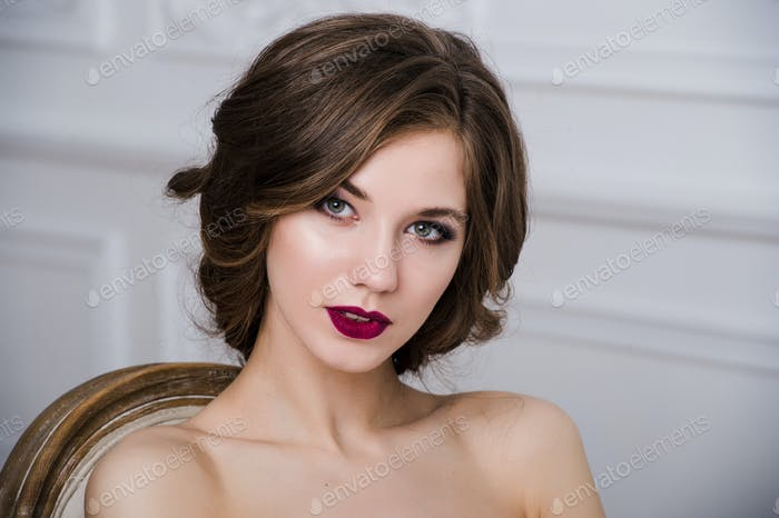 brunette bride portrait fashion model on luxury interior background
