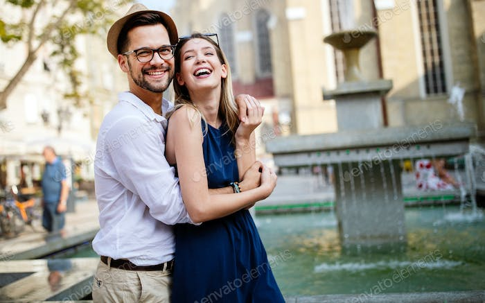 Happy romantic couple in love having fun outdoor in summer day