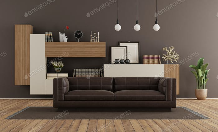 Modern living room with brown sofa and bookcase