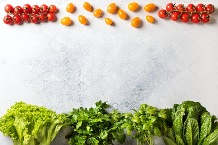 Background of fresh vegetables and herbs.Food delivery Concept of healthy eating.